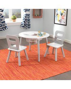 Kidkraft - Set met ronde opbergtafel en 2 stoelen - grijs en wit
