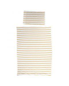 Childhome - Donsovertrek + Kussensloop - 100x140 cm - Jersey Ochre Stripes