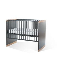 Childhome - Paris Dark Oak en Anthra Babybed 60x120 cm + Zijlatten en Bodem
