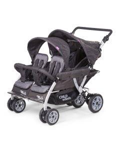 Childhome - Quadruple Meerlingwagen voor 4 Kinderen - Antraciet
