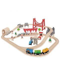 Hape - Double Loop Railway Set - Houten trein