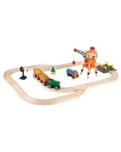 Hape - Crane & Cargo Set - Houten trein