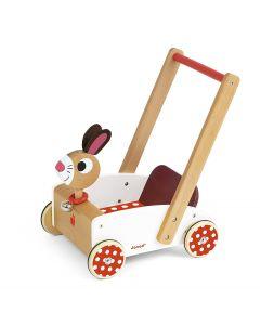 Janod - Crazy Rabbit - Houten Loopwagen