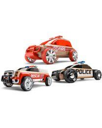 Automoblox - Mini S9 Police/X9 Fire/T900 Rescue  - Creatieve speelgoedauto