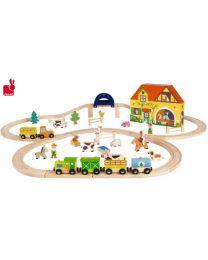 Janod - Story Express Boerderij Speelset - Houten trein