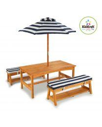 Kidkraft - Meubelset: tafel, 2 bankjes en parasol