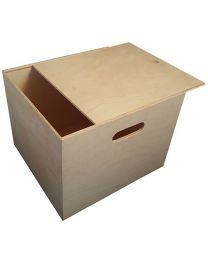 Vierkante houten opbergkist met schuifdeksel van Lionel
